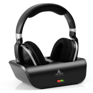 ARTISTE Wireless TV Headphones Over Ear Headsets - Digital Stereo Headsets with 2.4GHz RF Transmitter, Charging Dock, 100ft Wireless Range and Rechargeable...
