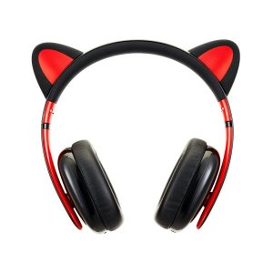 Censi Music Headset Headphone Creative Cat Ear Stereo Over-Ear Game Gaming Bass Headset Noise Canceling Headband Earphone with MIC Rechargeable Port for Bluetooth 4.0 Device (Black, Bluetooth)
