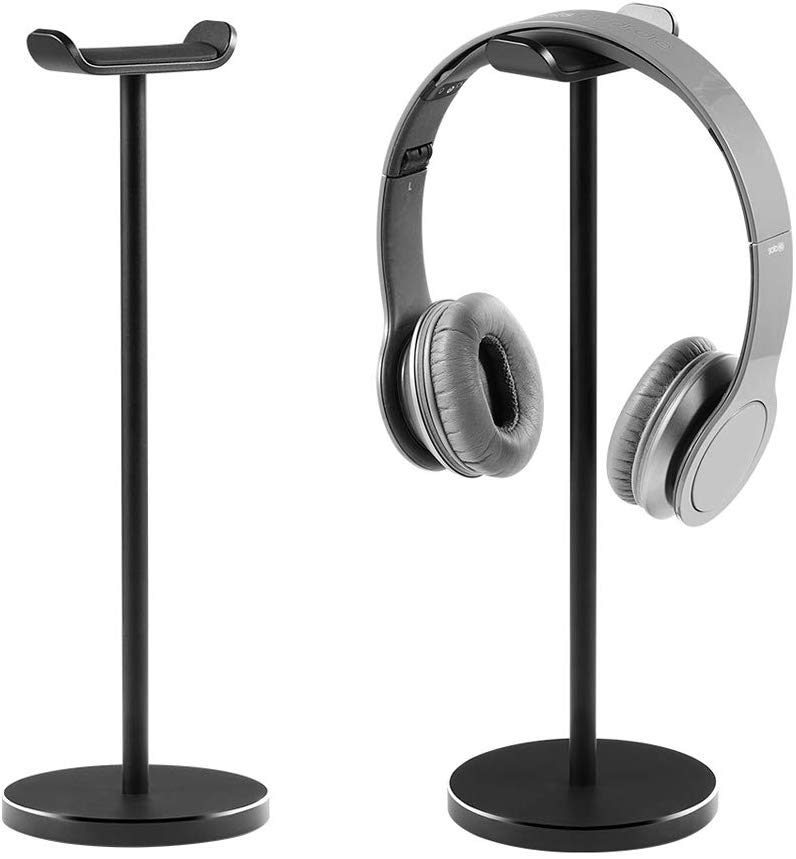 Aluminum Alloy Headphone Stand Headset Stand for All Headphones Size Headset Holder Hanger with Heavy Base for Desktop Organization Display (Black)