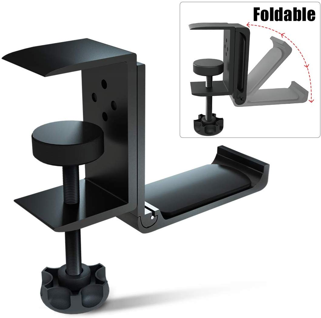 Foldable Headphone Stand Hanger Holder Bracket Aluminum Headphones Headset Clamp Hook Under Desk Space Save Mount Fold Upward Not in Use, Universal Fit All...