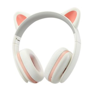Censi Music Headset Headphone Creative Cat Ear Stereo Over-Ear Game Gaming Bass Headset Noise Canceling Headband Earphone for ipad, PC, iPhone and Android Smartphones (White, Wired)