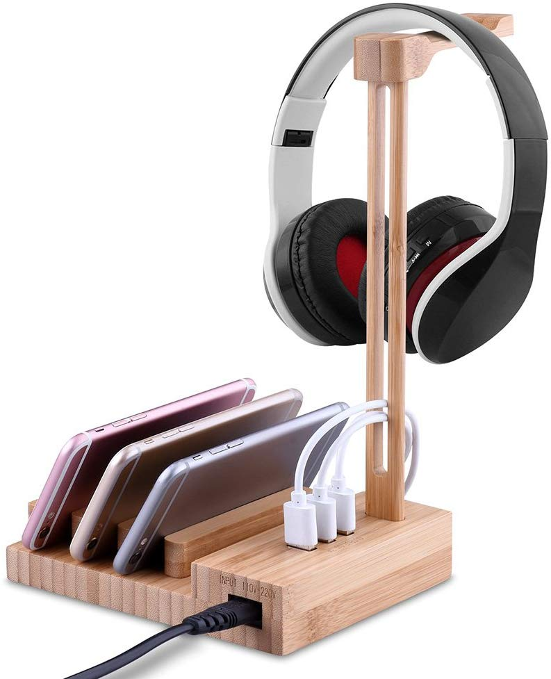 Festnight Universal Wooden Headphone Stand Headset Holder Earphone Hanger with 3 USB 3.0 Port Enable to Charge Phone Tablet