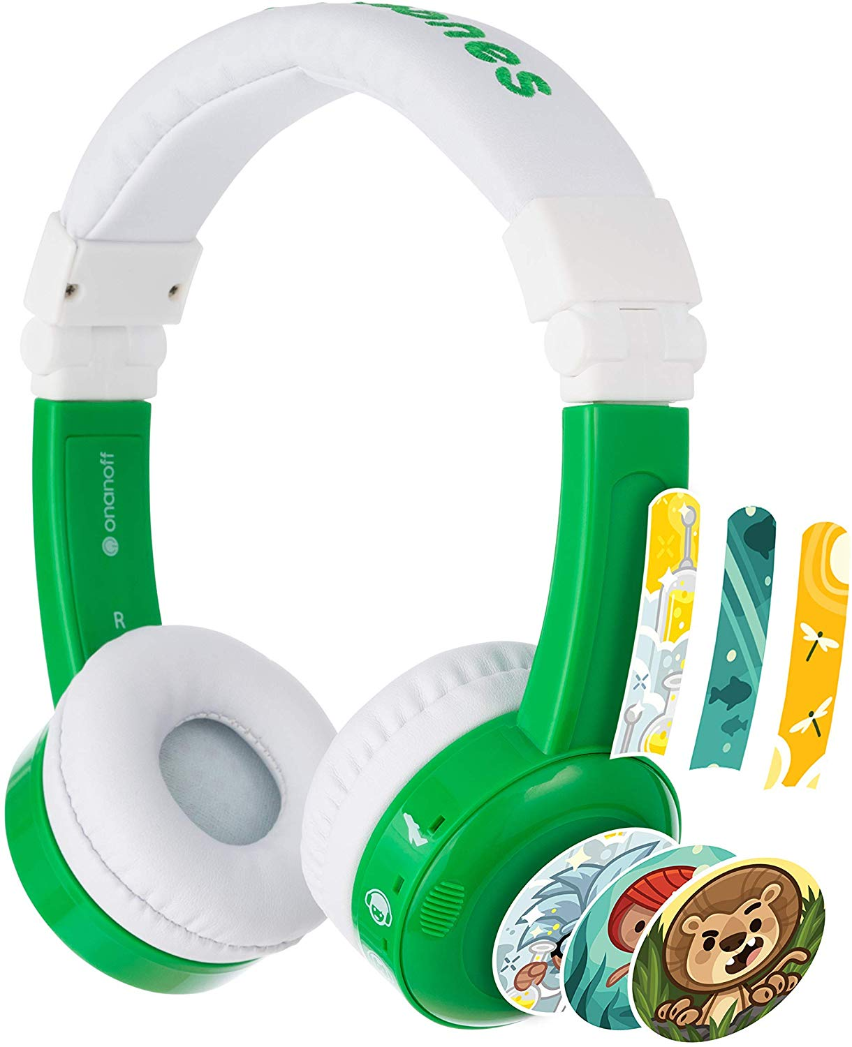 BuddyPhones Inflight, Volume-Limiting Kids Headphones, 3 Volume Settings of 75, 85 and 94 dB, Includes Travel Mode, Perfect for Airplanes, Trains and Cars,...