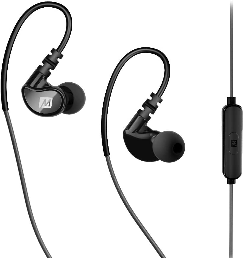 MEE audio X1 Wired In-Ear Sports Headphones with Microphone and Remote – Sweatproof Secure-Fit Earphones for Running, Jogging, and Gym Workouts (Grey/Black)