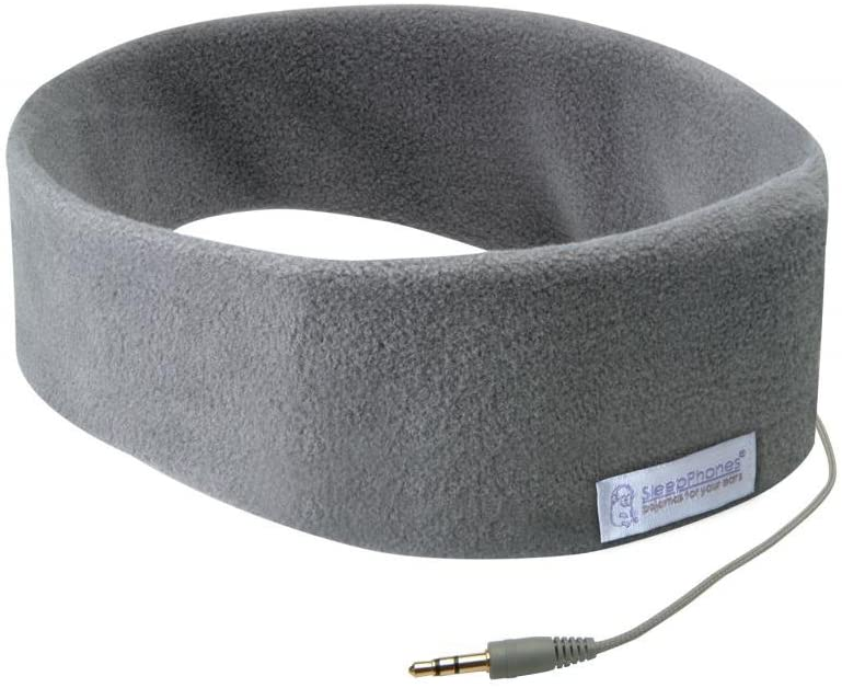 AcousticSheep SleepPhones Classic | Corded Headphones for Sleep, Travel, and More | The Original and Most Comfortable Headphones for Sleeping | Soft Gray - Fleece Fabric (Size M)