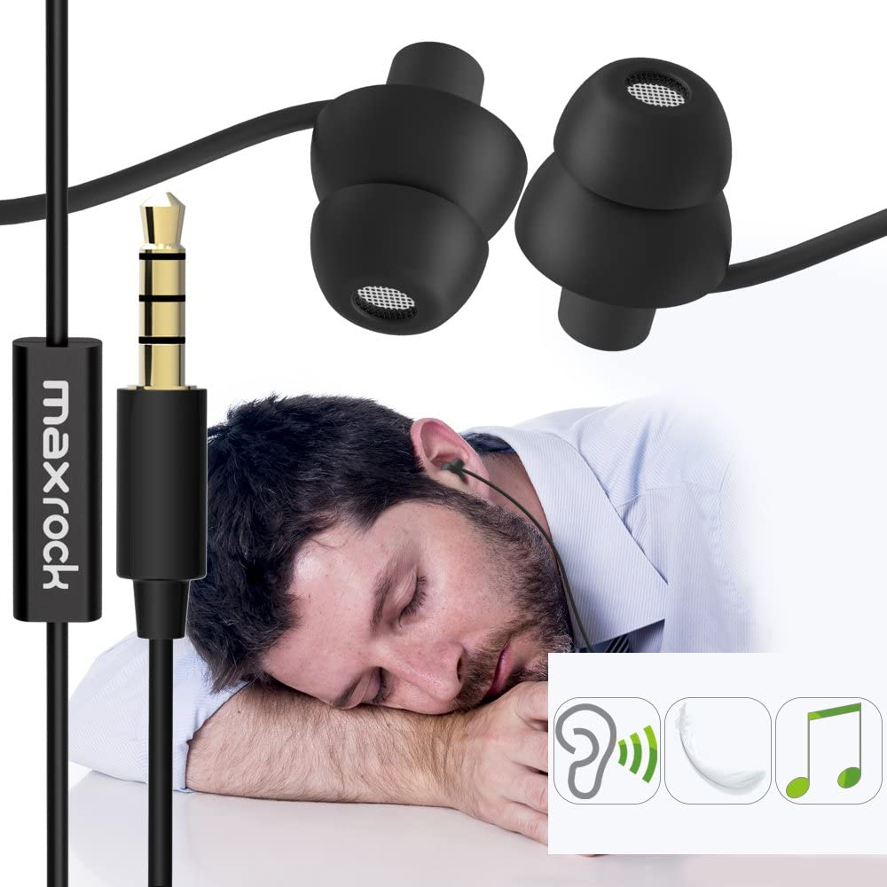 MAXROCK (TM) Unique Total Soft Silicon Sleeping Headphones Earplugs Earbuds with Mic for Cellphones, Tablets and 3.5 mm Jack Plug (Black)