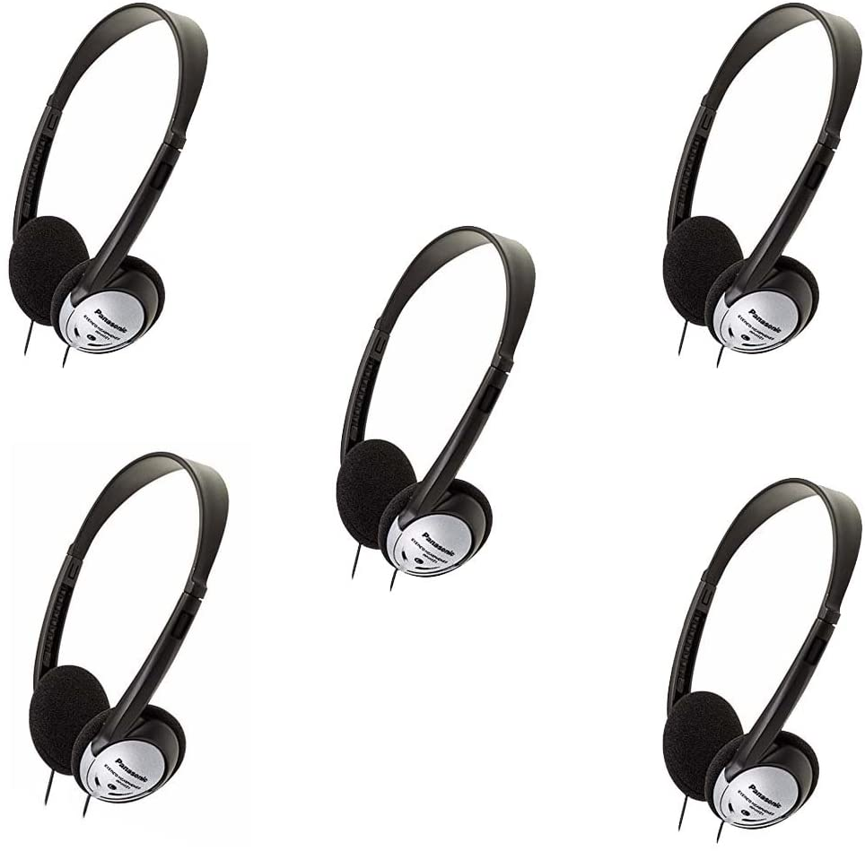 Panasonic RP-HT21 Lightweight Headphones with XBS (5 Pack)