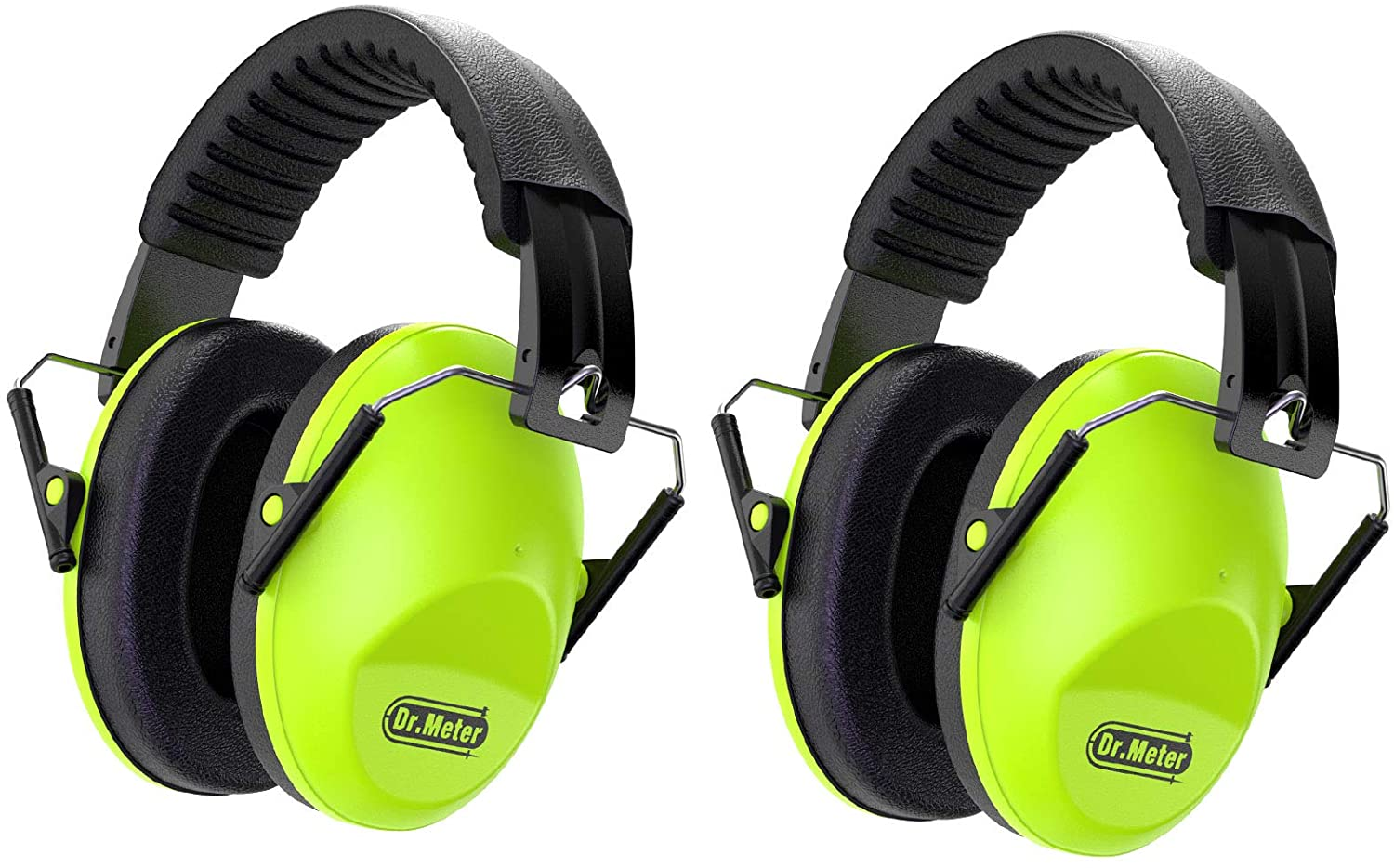 Dr.meter Kids Noise Reduction Earmuffs with 27 NRR Hearing Protection Earmuffs for Shooting Sleeping and Studying, Green-2 Packs - Baby Noise Cancelling Headphones