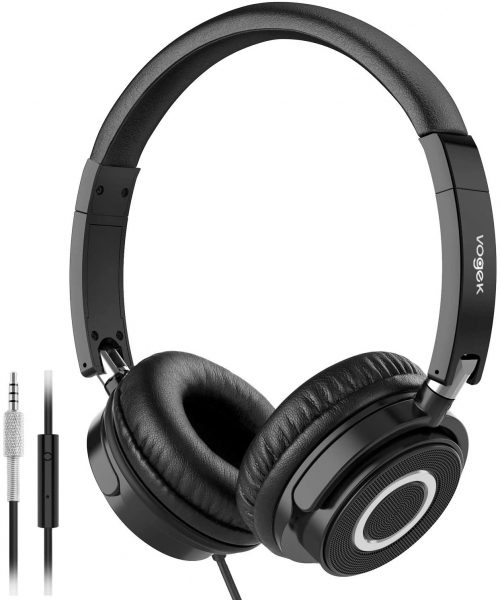 Vogek On-ear Headphones with Mic, Lightweight Portable Fold-Flat Stereo Bass Headphones with 1.5M Tangle-Free Cord and Microphone