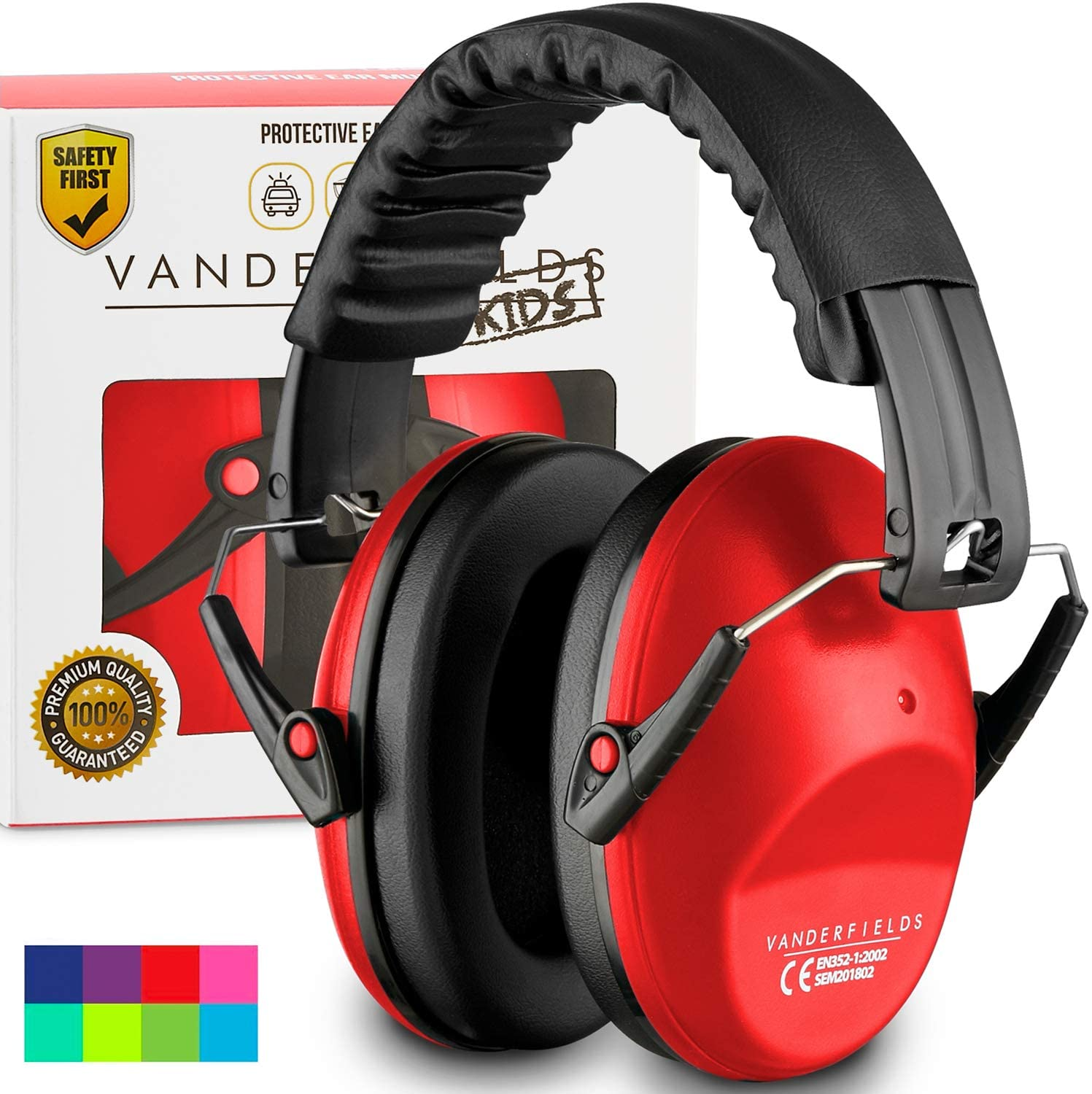 Vanderfields Earmuffs for Kids – Hearing Protection Muffs For Children Small Adults Women – Foldable Design Ear Defenders Protector with Adjustable Padded Headband for Optimal Noise Reduction - (Red) - Baby Noise Cancelling Headphones