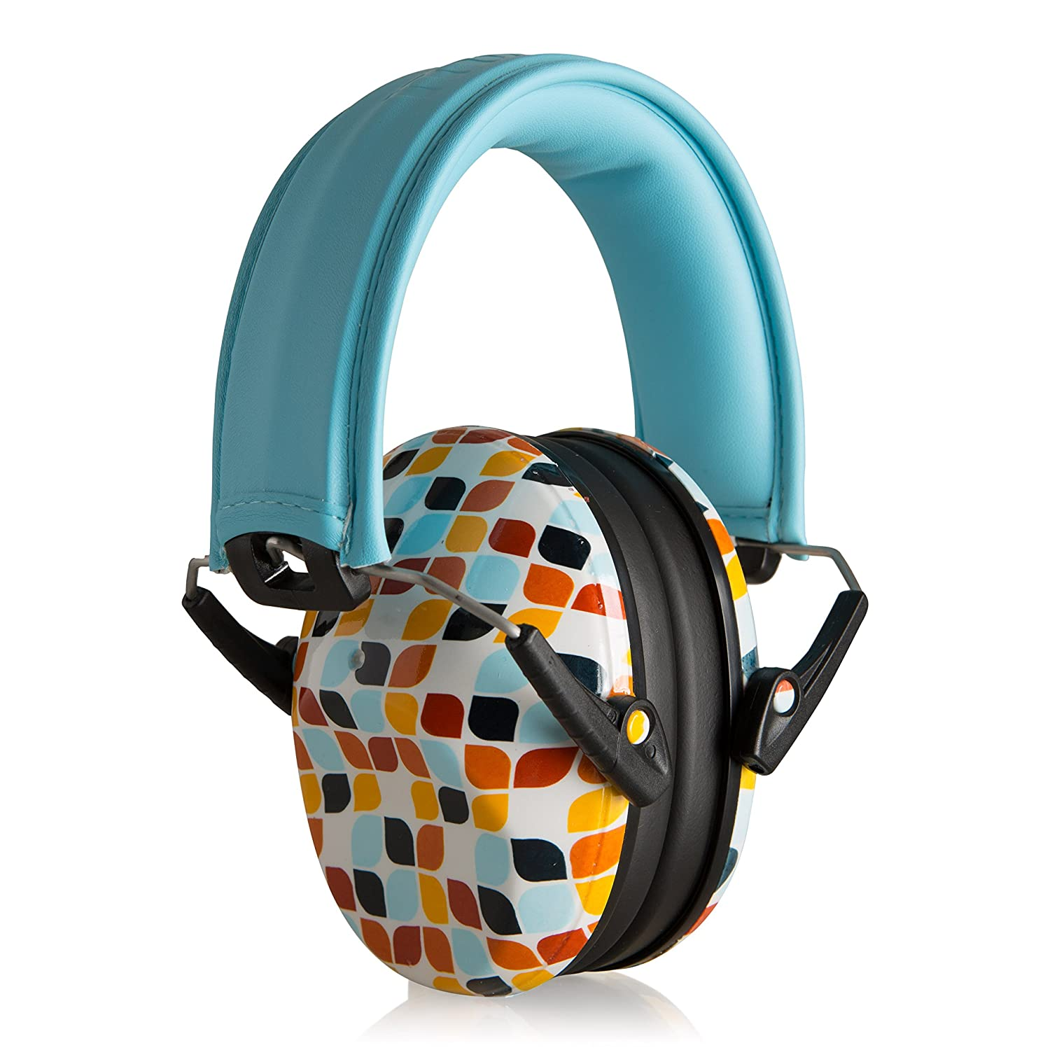 Muted Designer Hearing Protection for Infants & Kids - Adjustable Children's Ear Muffs from Toddler to Teen - Geometric Leaf - Baby Noise Cancelling Headphones