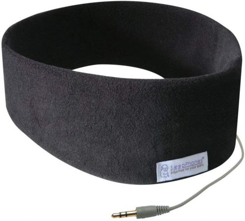 AcousticSheep SleepPhones Classic | Corded Headphones for Sleep, Travel, and More | The Original and Most Comfortable Headphones for Sleeping | Midnight Black - Fleece Fabric (Size L)