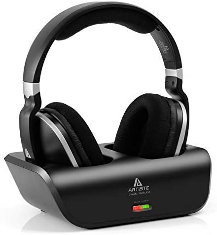 ARTISTE Wireless TV Headphones Over Ear Headsets - Digital Stereo Headsets with 2.4GHz RF Transmitter, Charging Dock, 100ft Wireless Range, and Rechargeable 20 Hour Battery, Black
