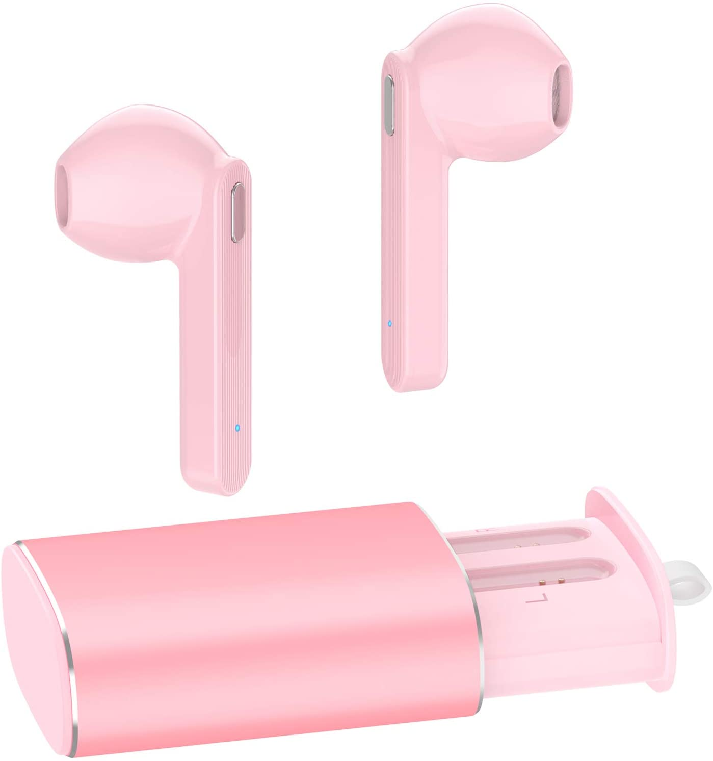 Wireless Earbuds, AUGYMER Bluetooth 5.0 True Earphones Auto Pairing Bluetooth Headphones TWS Stereo HiFi Headphones for Running Sports in-Ear with Type-C Charging Case Built-in Mic Headset (Pink)