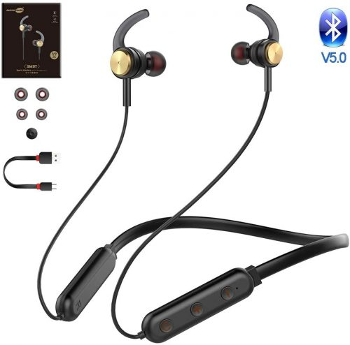 Baseman Bluetooth Headphones with Microphone Wireless Sports Earphones Workout Earbuds for Gym Running 20 Hours Play Time IPX6 Waterproof Sports in-Ear Headphones for Computer Laptop Music