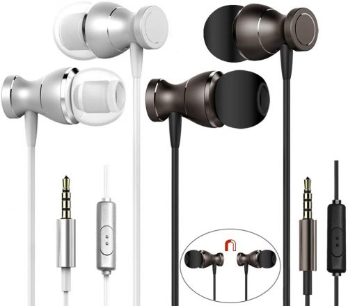 2 Packs Magnetic Earbud Headphone with Remote & Microphone, Dakuan in Ear earphone Stereo Sound Noise Isolating Tangle Free for Smartphones