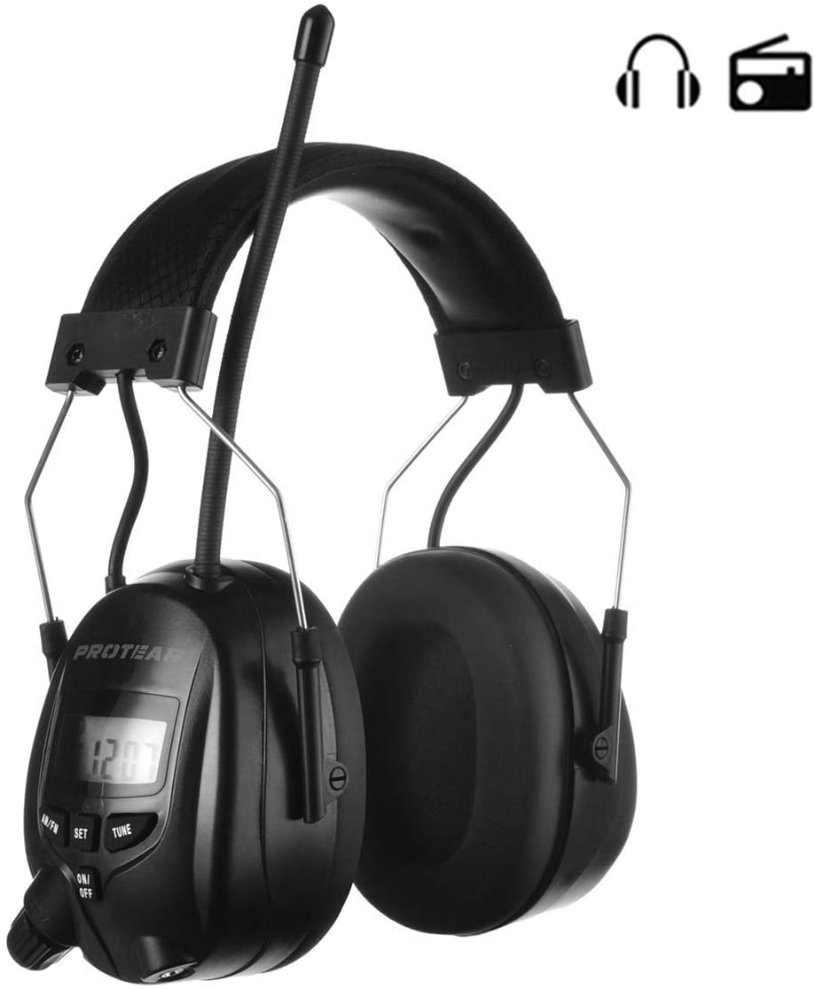 PROTEA AM FM Radio Headphones, Noise Reduction Safety Earmuffs Compatible with MP3-NRR 25dB, Hearing Protection for Mowing Lawn (Black)
