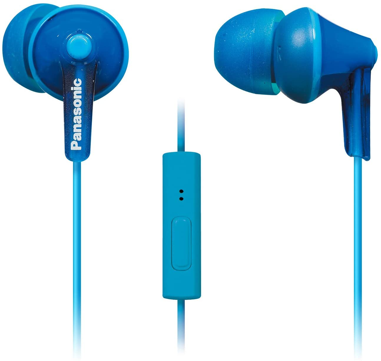Panasonic Ergo Fit Ear bud Headphones with Microphone and Call Controller Compatible with iPhone, Android, and Blackberry - RP-TCM125-A - In-Ear (Blue)