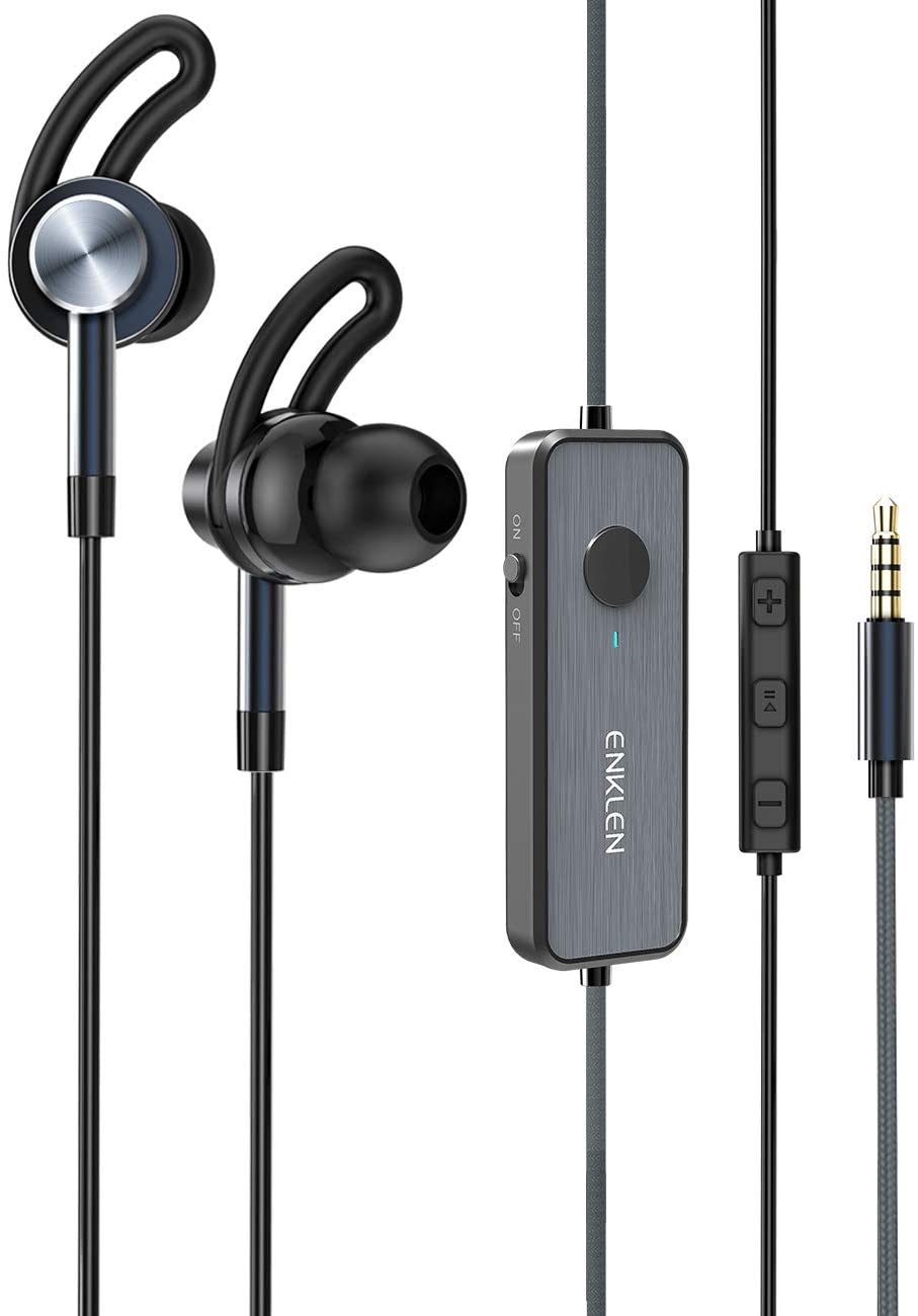ANKLE Active Noise Cancelling Earbuds, Wired Stereo Earbuds in-Ear Awareness Monitor Headphones with Microphone and Remote, 3.5mm Jack, 20 Hours ANC Playtime