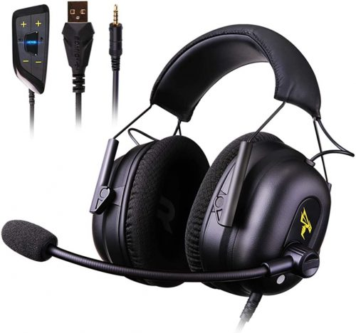 Voor Over Ear Headphones 7.1 Surround Sound Gaming Headset Works with PC, PS4 PRO, Xbox One S,Cell Phone SOMIC Active Noise Canceling with Mic HI-FI USB Jack Game Earphones (G936N)