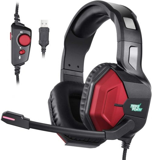 EasySMX Gaming Headset PS4 Headset with 7.1 Surround Sound, PC Headset with Noise Canceling Mic & 7 Colors LED Light, Gaming Headphones for PS4, PC, Mac, Laptop, Over Ear Headphones