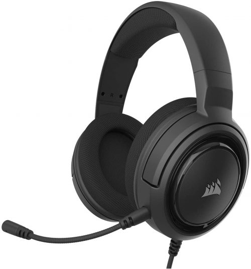 Corsair HS35 - Stereo Gaming Headset - Memory Foam Ear cups - Headphones Work with PC, Mac, Xbox One, PS4, Switch, iOS, and Android – Carbon, 2.6