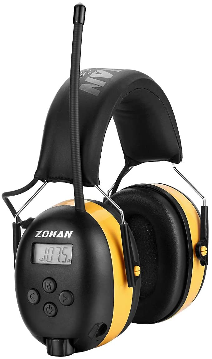 ZOHAN EM042 AM/FM Radio Headphone with Digital Display, Ear Protection Noise Reduction Safety Ear Muffs, Ultra Comfortable Hearing Protector for Lawn Mowing and Landscaping – Yellow
