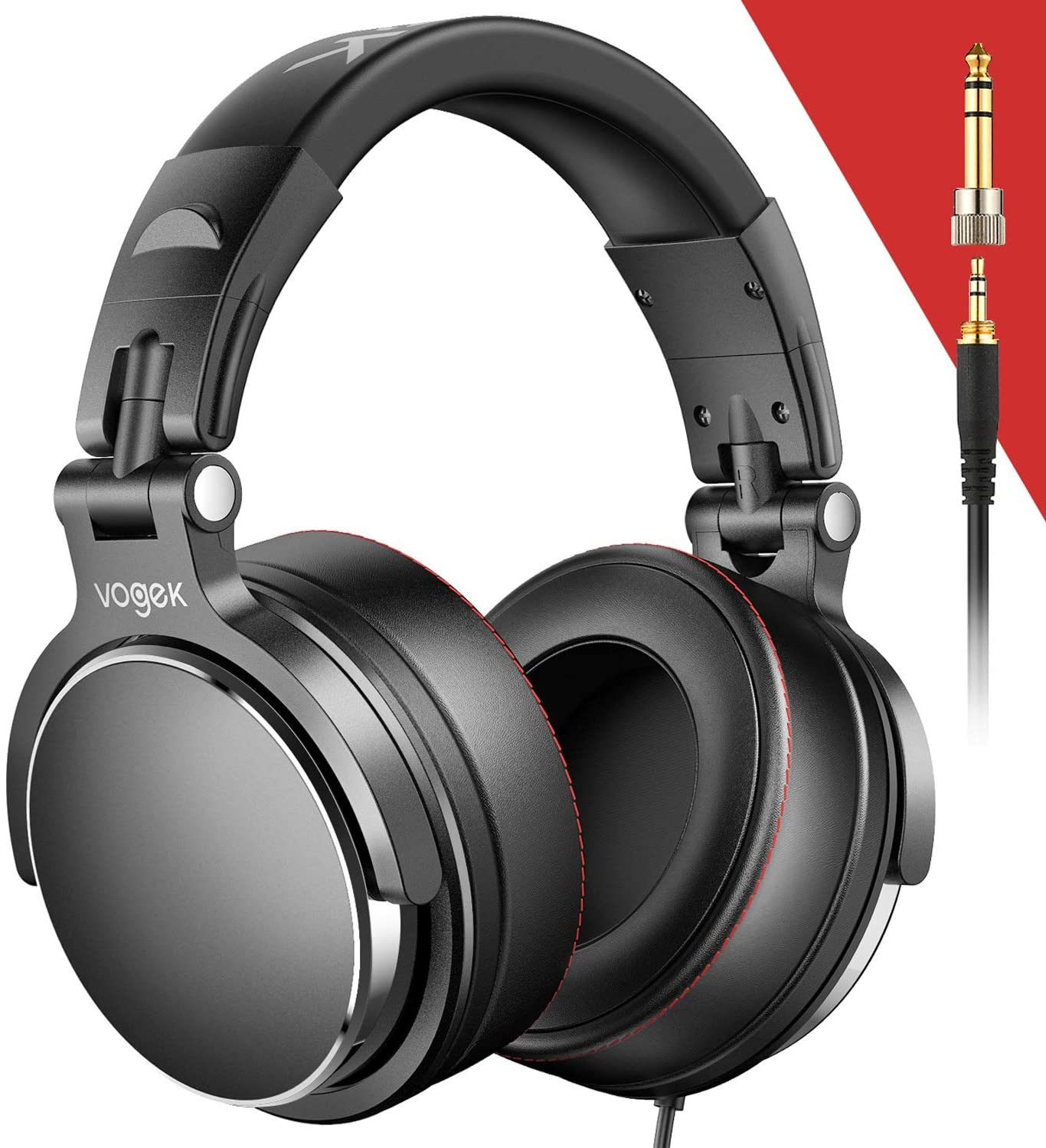 Vogek Over-Ear DJ Headphones, Professional Studio Monitor Mixing DJ Headset with Protein Leather Memory Foam Ear Pads, Stereo Sound for Electric Drum Piano Guitar AMP, 50mm Neodymium Drivers