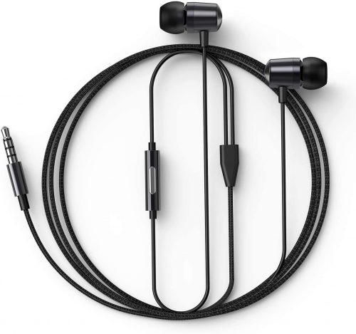 in-Ear Headphones Wired Earbud with Line-in Microphone Heavy Bass Dynamic Driver Earphones with Non-Tangle Fabric Braid for Running Gym Android Phones Music Player Dark Chrome N2