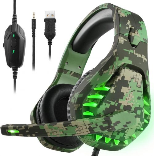 ENVEL Noise Cancelling Gaming Headset with 7.1 Surround Sound Stereo for PS4/Nintendo eShop Switch, Omnidirectional Microphone Vibration LED Light Compatible with Mac/PC/Laptop/Mac/PS3 Camo
