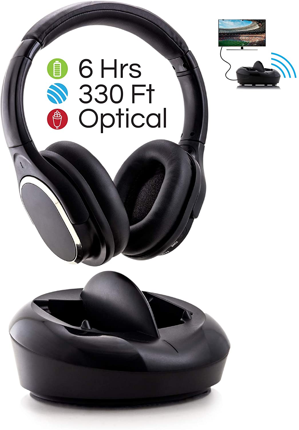 POP Wireless Over-Ear TV Headphones with Charging Dock 2.4GHz RF TV Headset, 330ft Range, Digital Optical Input, Light Weight and Extra Padding for Superior Comfort, Easy Set Up, 6 Hour Battery