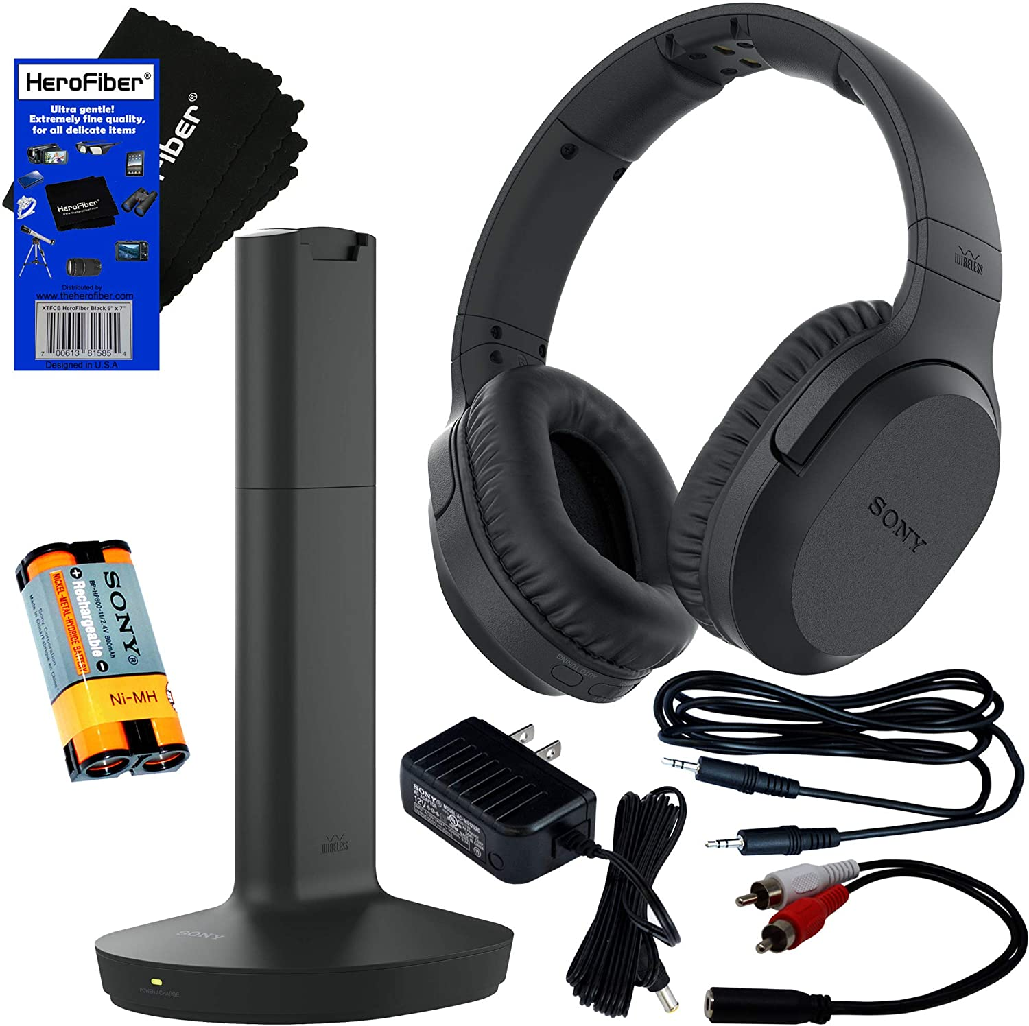 Sony Wireless Over-Ear Noise Reduction Headphones (WHRF400R) with Transmitter Dock (TMRRF400) + Sony Rechargeable Battery + Connecting Cables + AC Adaptor + Hero Fiber Cleaning Cloth
