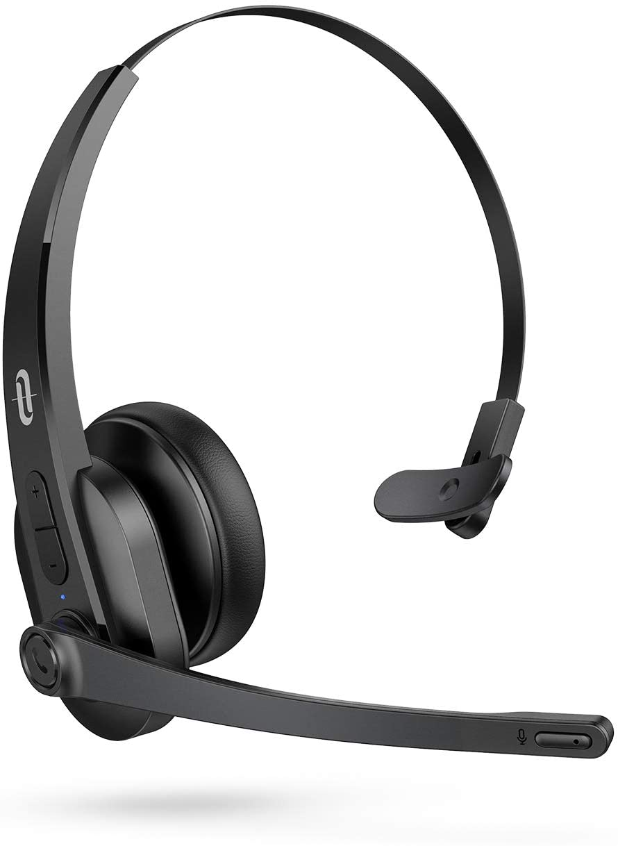 TaoTronics Trucker Bluetooth Headset with Microphone, Phone Wireless Headset Noise Cancelling Mic, On-Ear Bluetooth Headphones, Bluetooth 5.0, 34H for Truck Driver Computer Office Call Center Skype
