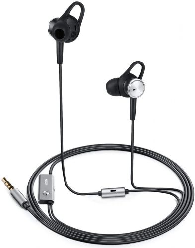 AUKEY Active Noise-Canceling Earbuds, in-Ear Wired Headphones with 3 Adaptable Audio Modes and Built-in Mic Compatible for iPhones, Samsung and More