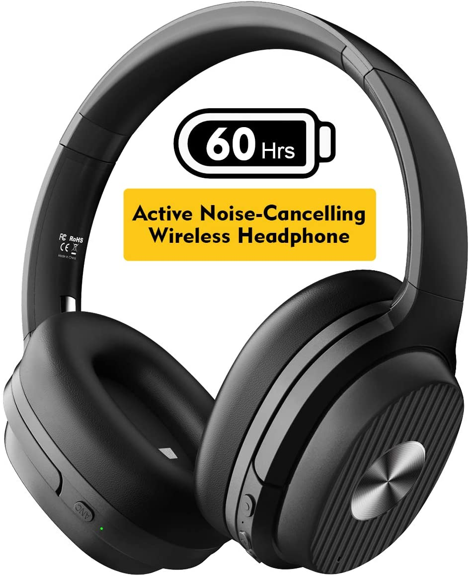 EKSA Active Noise Canceling Headphones 60 Hrs Playtime Bluetooth 5.0 ANC Wireless Headphones Over Ear Headset with Quick Charge, CVC 8.0, Soft Protein Earpads, Hi-Fi Deep Bass for Work PC Cellphone