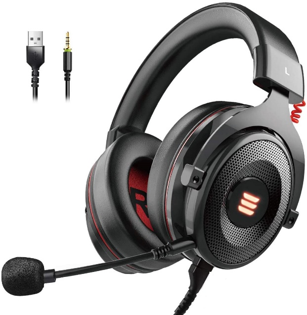 EKSA Stereo Gaming Headset for PS4, PC, Xbox One Controller, Noise Canceling Over Headset with Microphone, LED Light, Bass Around, Soft Memory Headset for Mac Nintendo Switch Games Laptop