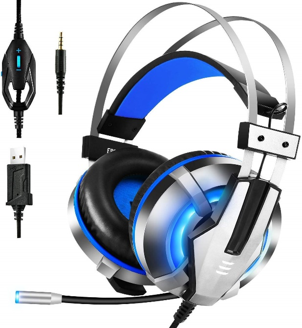 EKSA Stereo Sound Over-Ear Headphones Gaming Headset with Mic (Blue)