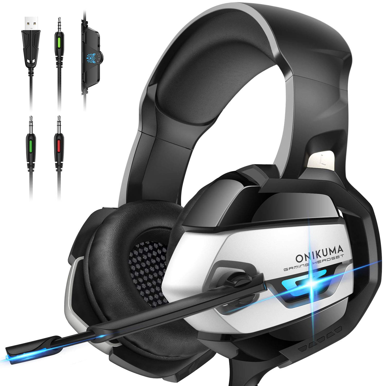 ONIKUMA Gaming Headset - Xbox One Headset PS4 Headset PC Headset with Noise Canceling Mic &7.1 Surround Bass, Gaming Headphones