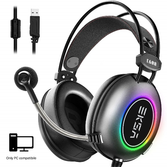 EKSA 7.1 USB Gaming Headset,Stereo Surround Sound Gaming Headset, Over-Ear LED Gaming Headphones with Noise-canceling Microphone for PC, Laptop, PS4, Mac, iPad Version