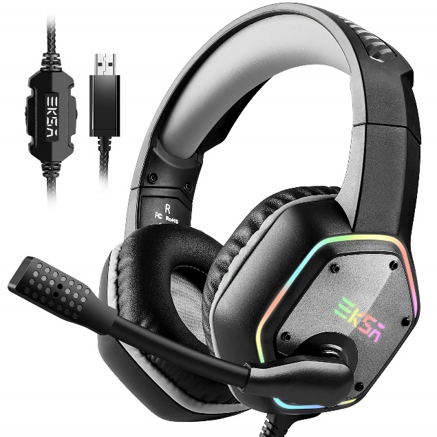 EKSA PC RGB Gaming Headset 7.1 Surround Sound, PS4 USB Headset with Mic, Gaming Grade 50mm Drivers, Mic/Volume Control, Soft Earmuffs LED Over-Ear Headphones for PC/PS4(Gray)