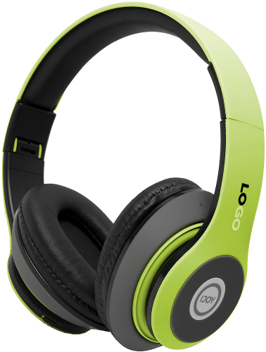 iJoy Matte Finish Premium Rechargeable Wireless Headphones (SRG-Lime) with Mic