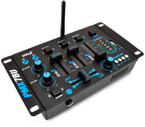 Wireless DJ Audio Mixer Machine - 3 Channel Bluetooth Compatible DJ Controller Sound Mixer System with Mic-Talkover, USB Reader, Dual RCA Phono/Line In, Microphone Input, Headphone Jack - Pyle PMX7BU - DJ Turntables
