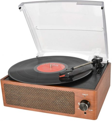 Bluetooth Record Player Belt-Driven 3-Speed Turntable, Vintage Vinyl Record Players Built-in Stereo Speakers, with Headphone Jack/ Aux Input/ RCA Line Out, Wooden - DJ Turntables