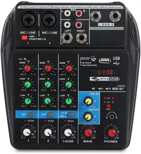 A4 4Channels Audio Mixer Sound Mixing Console Soundboard