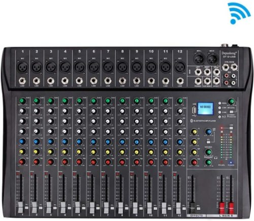 Depusheng Professional 12 Channel Bluetooth DJ Mixing Console Karaoke Amplifier - Analog Mixing Console