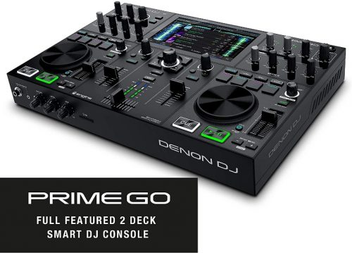 Denon DJ PRIME GO – Portable DJ Set / Smart DJ Console with 2 Decks, WIFI Streaming, 7-Inch HD Touchscreen, and Rechargeable Battery