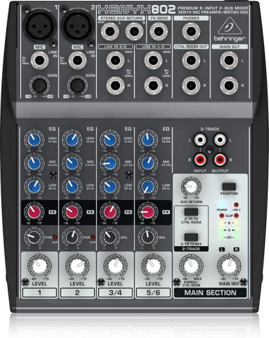 Behringer Xenyx 802 Premium 8-Input 2-Bus Mixer with Xenyx Mic Preamps and British EQs - Analog Mixing Console