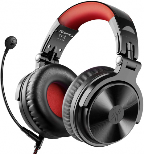 OneOdio Wired Gaming Stereo Headsets (Red) - Foldable Headphones