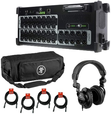 Mackie DL32S 32-Channel Wireless Live Sound Mixer with Mackie DL32S Digital Mixer Bag, Polsen HPC-A30 Headphones & (4) XLR Cable Bundle