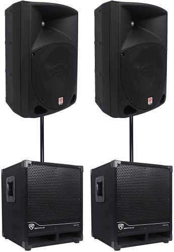 "2) Rockville RPG10 10"" Powered 600W DJ PA Speakers+2 - DJ Speaker Packages"